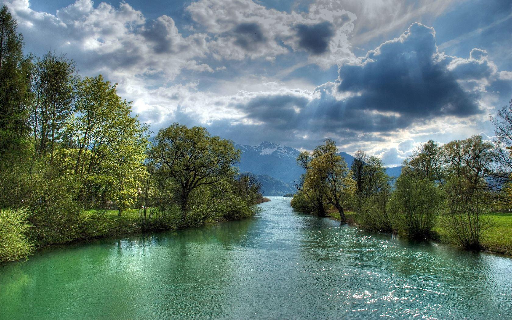 river life sunshine nature sky