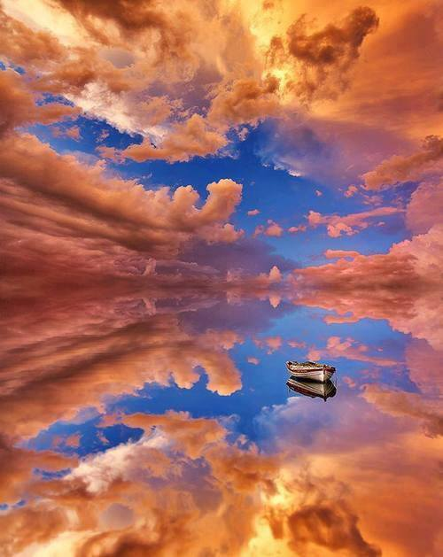 water boat cloud reflection