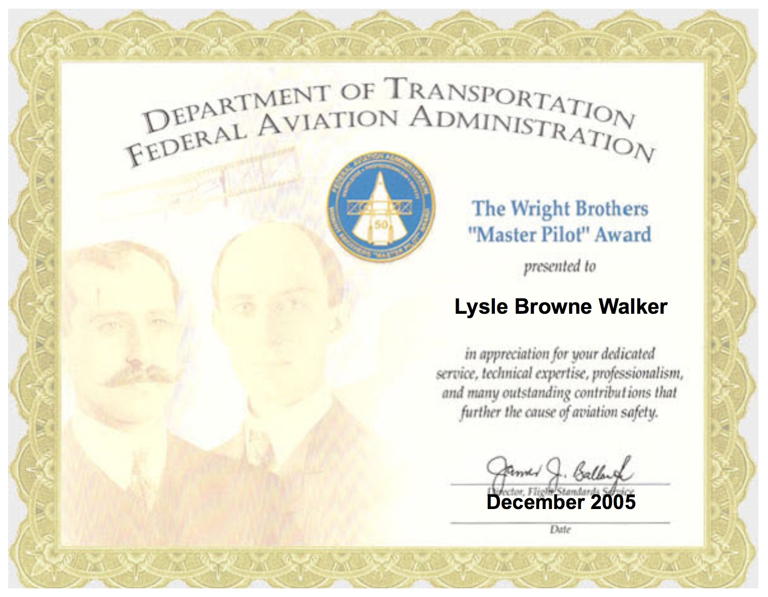 bud walker wright brothers faa safety award