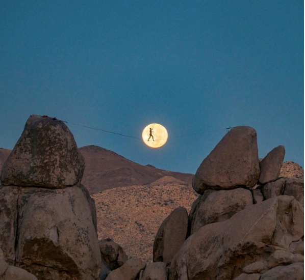 chris burkard full moon joshua tree slackline nature